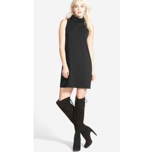 Leith A-Line Turtleneck Dress- Black- XS